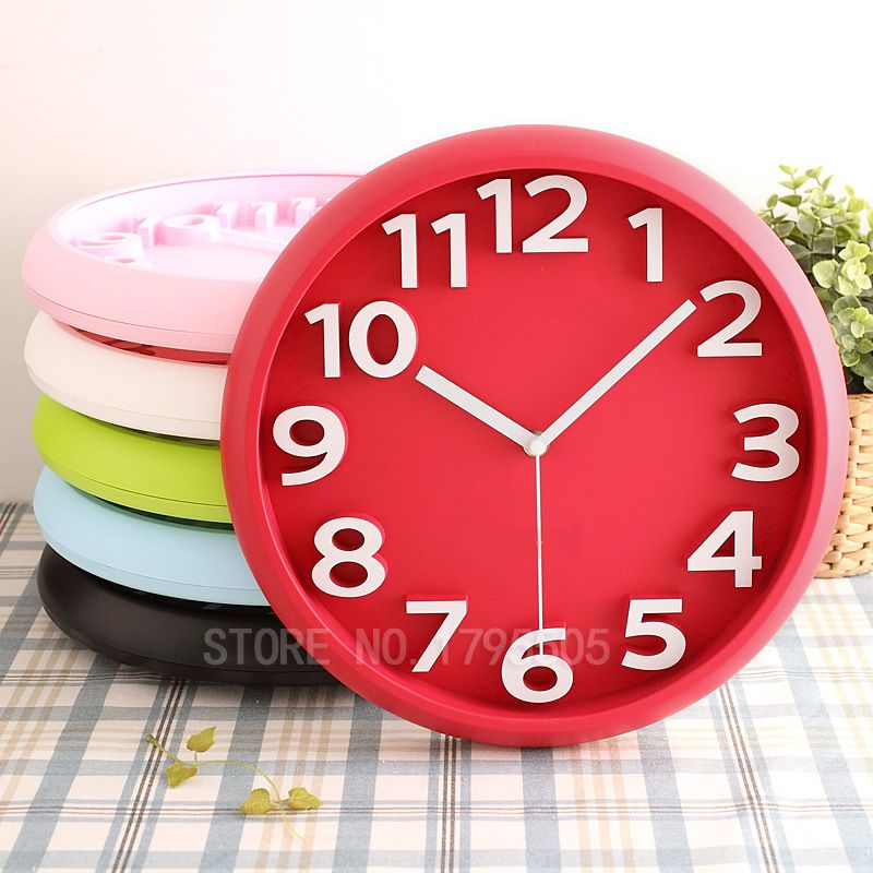 3D Fashion Candy wall clock circular digital clocks mute watches modern design home decor 3d clok decorative kids wall clocks