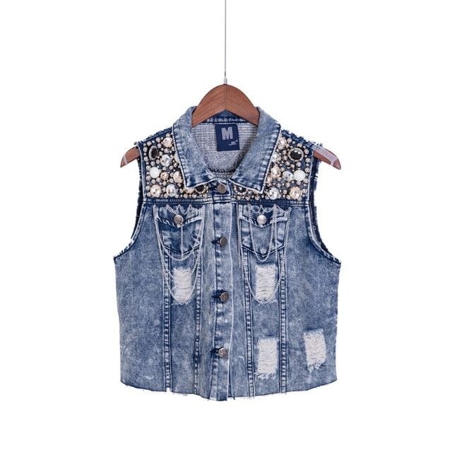 Womens Denim Coat Autumn Sleeveless Vintage  Holes Tie Dye Fashion Jeans Jacket  Embroidery Sequins Tank TopsC66247R