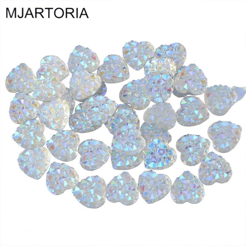 MJARTORIA 200PCs Resin Cabochon Heart Love Flatback Rhinestone Cameo Cabochons with Crystals Fit DIY Jewelry Making 9.5x9.5mm