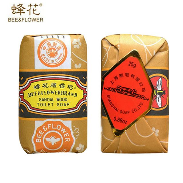 25g/0.88oz Bee Flower Brand Chinese SandalWood Soap Mini Travel Package Whitening Skin Cleaning Remove Acne Men/women Skin Care