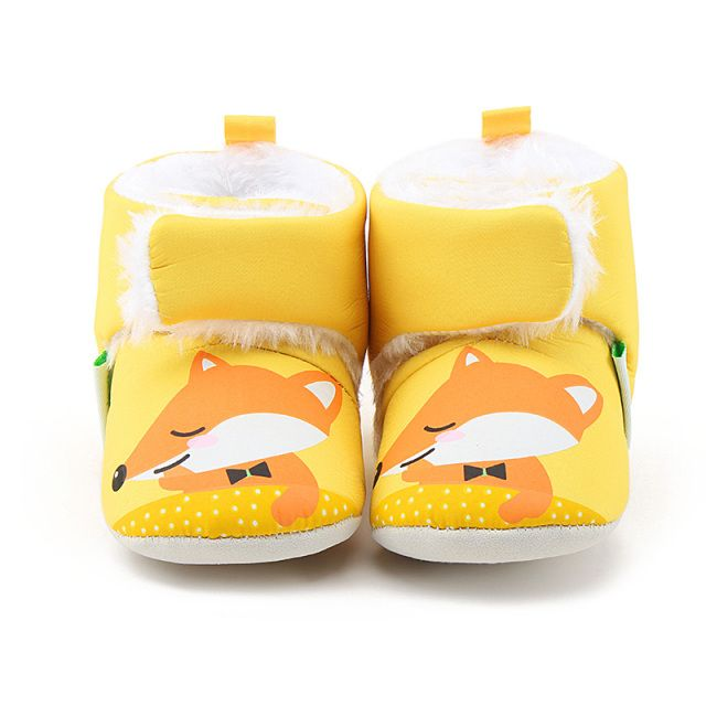 Winter Warm 0-18 Months Baby Boots Unique Cute Yellow Fox Newborn Toddler Baby Girl Shoes Hook & Loop Furry Boots Wholesale