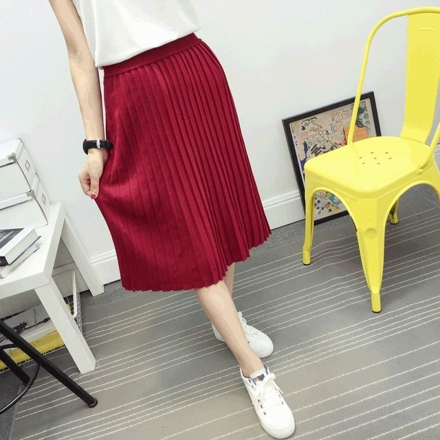 2016 pleated knit skirt skool jupe skirts womens vintage long winter warm skirt red black gray
