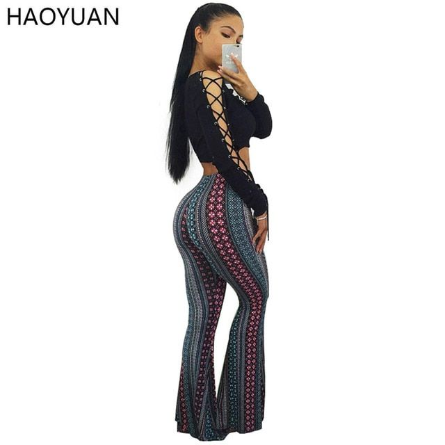 HAOYUAN Fashion Autumn Women Jumpsuit 2017 Black Casual O-Neck Long Sleeve Jumpsuit Overalls Bodycon Elegant Two Piece Romper
