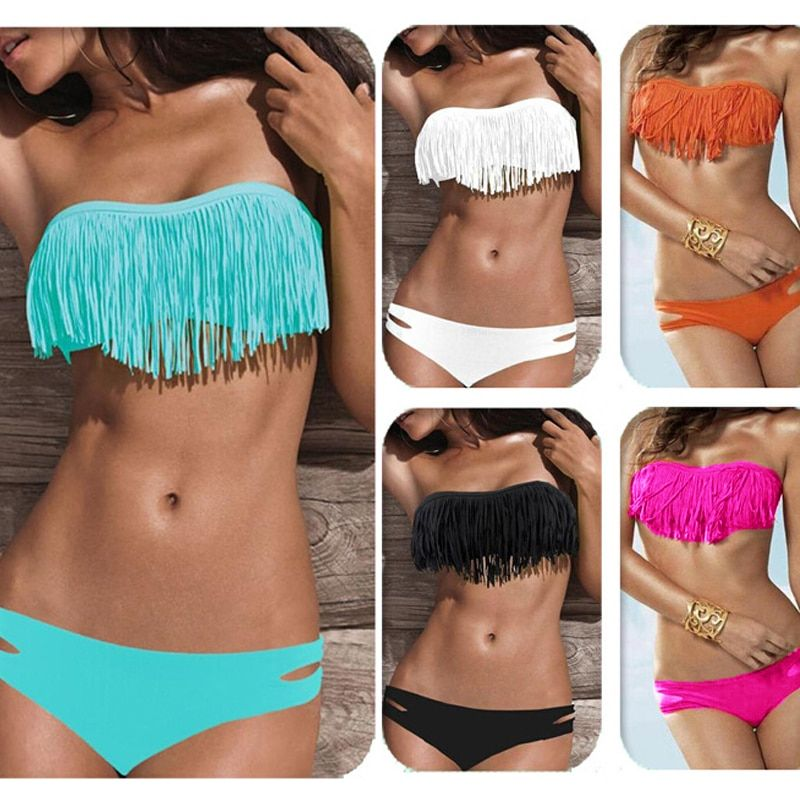 2018 Sexy Bikini Strapless Women Tassel Swimsuit with Pad Low Waist Swimwear Femme  Beachwear Solid Color Wire Free Bikinis Se