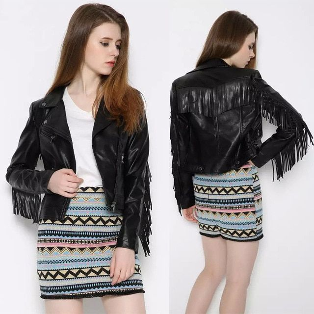 XJ2016 New Europe PU female Leather Slim fringe short leather jacket jacket locomotive jacket