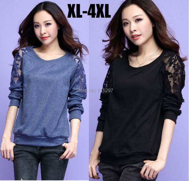 2015 new casual swearshirt women lace patchwork t-shirt loose slim fit long sleeve O neck plus size female ladies tops XXXXL