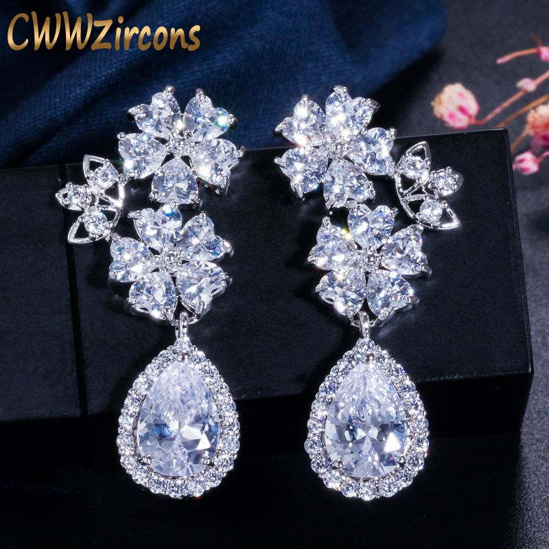 CWWZircons Brand Lovely Heart Shape Flower Clear Long Tear Drop CZ Stones Bridal Crystal Wedding Earrings for Brides CZ199