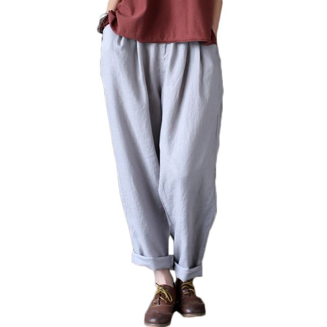 2017 Summer Spring Casual Plus Size Vintage Cotton Linen Pants Women Elastic High Waist Wide Leg Pants Harem Pants Pantalones
