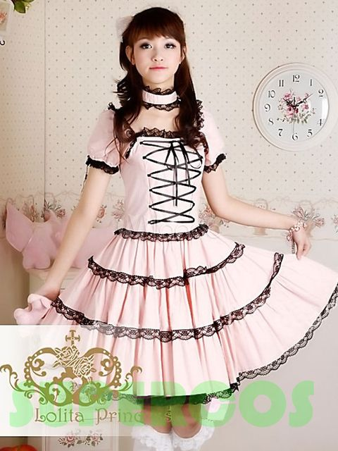 Free shipping! High quality! Cotton Sweet Lace-Up Pure Pink Lolita Dress