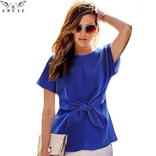 2016 fashion women kimono Bowknot blouses O-neck short sleeve shirts chiffon casual vintage tops plus size XXXXL blusas blouse