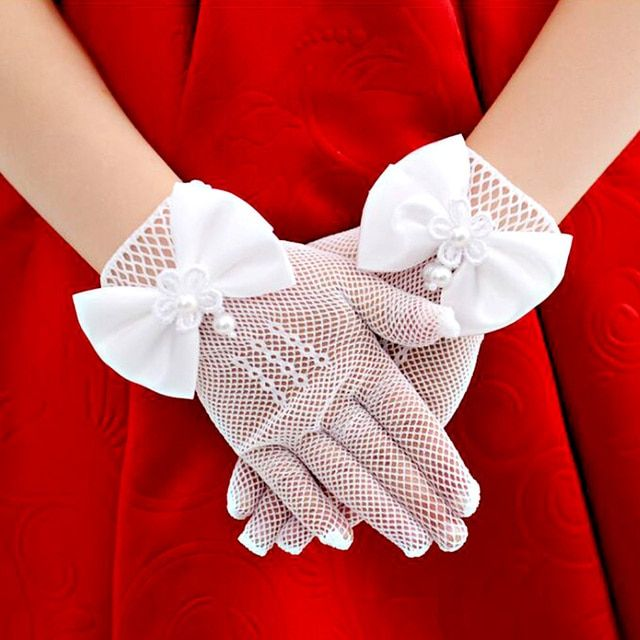 High Quality Children Princess Dress gloves Flower Girl Dress Short Gloves with satin bows Stretch Mesh Gloves White Cream Bow