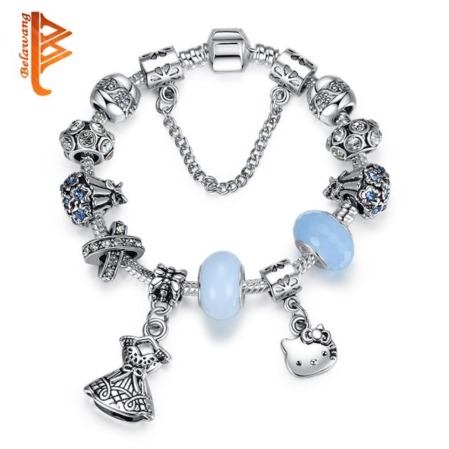 BELAWANG Antique Silver Color Kitty Charm Bracelet &Bangle with Blue Crystal Murano Glass Beads Bracelet for Women DIY Jewelry