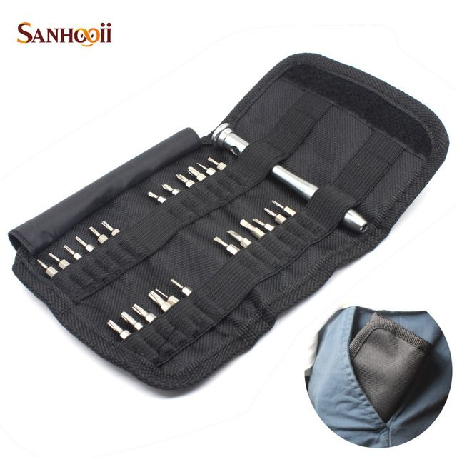 SANHOOII Precision Screwdriver Set 25 in 1 Torx Canvas Wallet Bag Style for iPhone Cellphone Electronic Repairing Tools