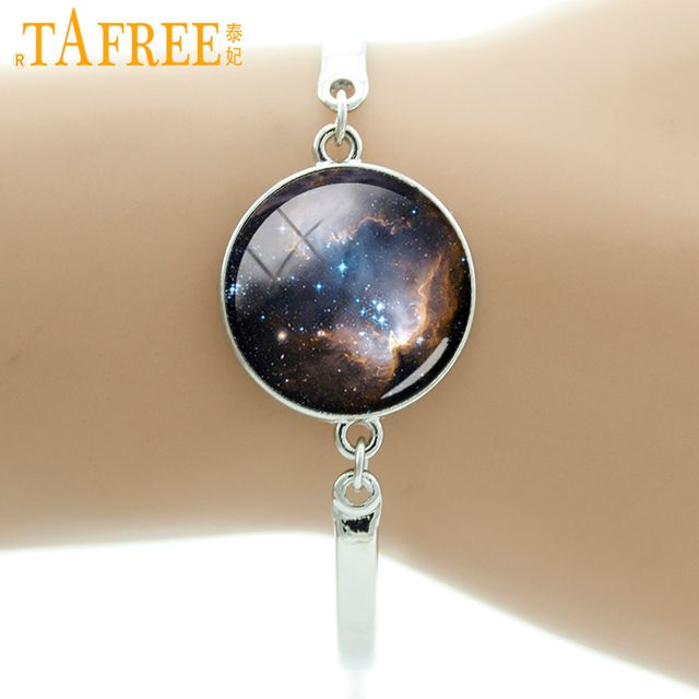 TAFREE Brand Glass gem Galaxy Bracelet Outer Space Nebula Bangle Silver Plated Stars And Universe Jewelry for women charms D835