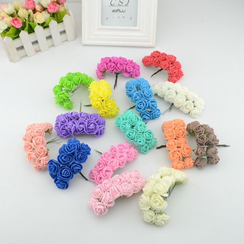36pcs mini artificial Foam rose bouquet wedding gift boxes decorated DIY wreath collage craft artificial flowers
