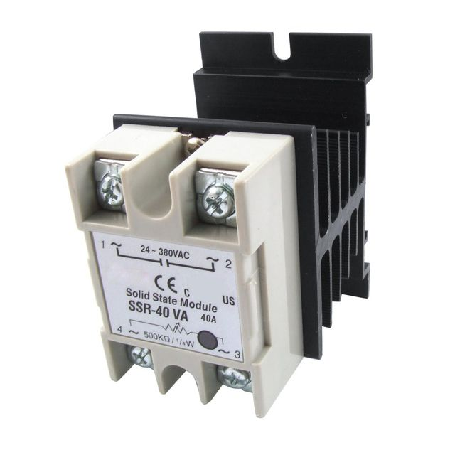 Voltage Resistance Regulator Solid State Relay SSR 40A 24-380V AC w Heat Sink