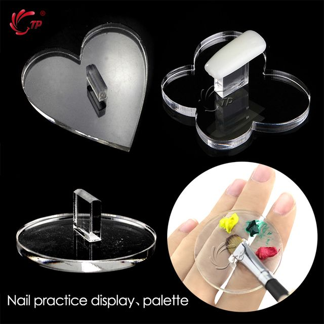 TP 3pcs Nail Practice Display Frame Nail Art Hand Pallette Mixing Acrylic Gel Polish Butterfly Heart Shape Manicure Tools