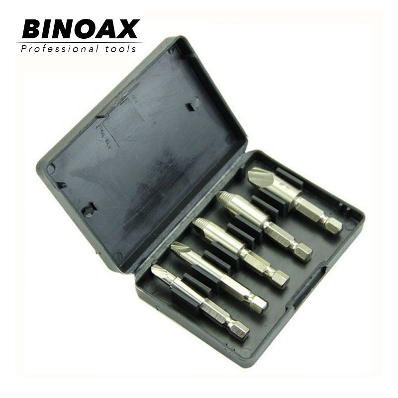 "BINOAX 5Pcs Screw Extractor Set Easy Out Drill Bits guide Broken Screws Bolt Remover 1/4""Shank"