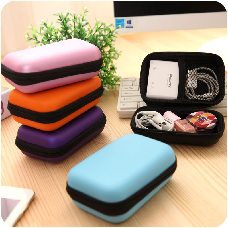 Earphone Wire Storage Box Zipper Protective Data Line Cables Storage Container Organizer Case Earbuds SD Card Box