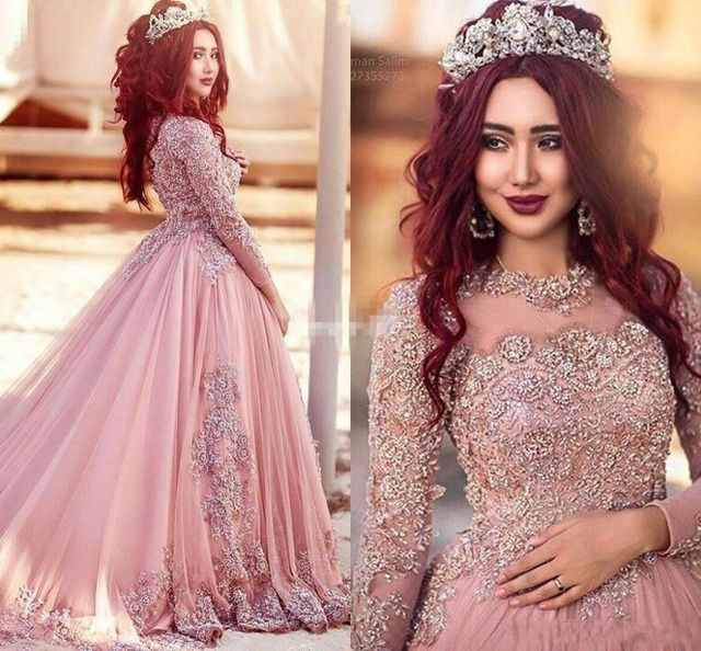 2017 Pink Long Sleeves Evening Dresses Princess Muslim Prom Dresses With Beads Red Carpet Runway Dresses Custom Made