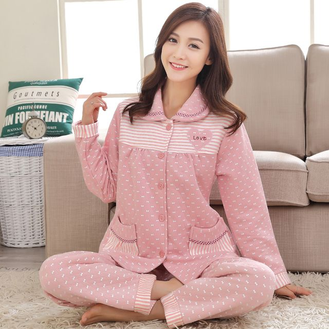 Pajamas Pyjamas  new women 's home    winter warm sandwich sandwich inside  outside cotton folder 2017 Spring Summer