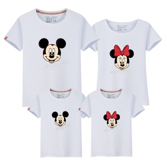 2017 mother father baby boys girls t-shirts mickey minnie family look matching mother and daughter clothes mother son outfits