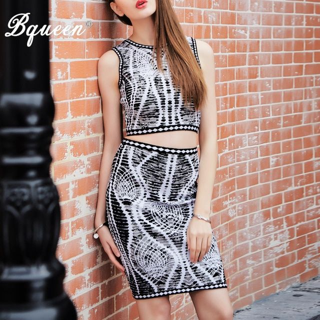 Bqueen 2017 New Jacquard Sleeveless  Cropped  2 Piece Sets  Sexy Bandage Dress Clearance