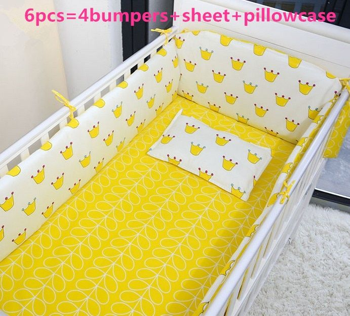 Promotion! 6PCS Cot Bedding Set for /baby gift/nursing set ,include(bumpers+sheet+pillow cover)