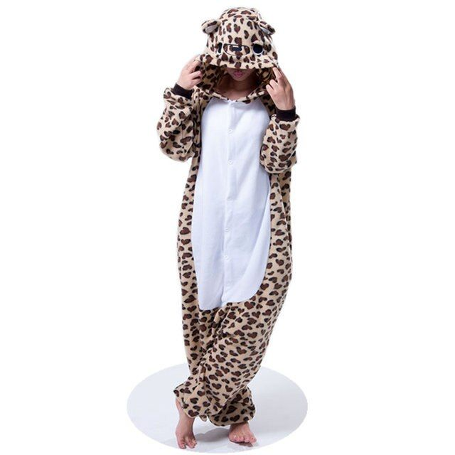 2017 New Leopard Bear Unisex Adults Flannel Hooded Pajamas Warm Cosplay Cartoon Lovely Animal Onesies Sleepwear For Women/Men PJ