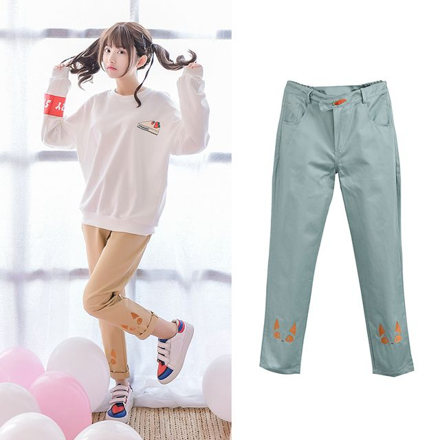 Mori Girl 2016 Autumn Original Women Length Pants Elastic Waist Students Casual Pant Embroidery Cat Trousers