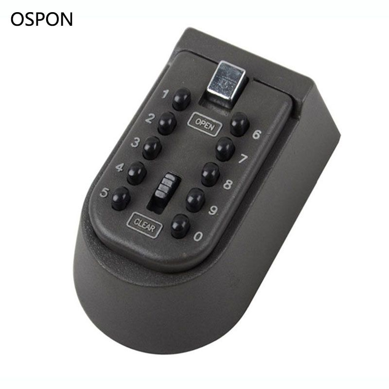 OSPON Wall Mounted Key Safe Box Storage Organizer Box Combination Lock 10-Digital Password Weatherproof Cover For Outdoor Use