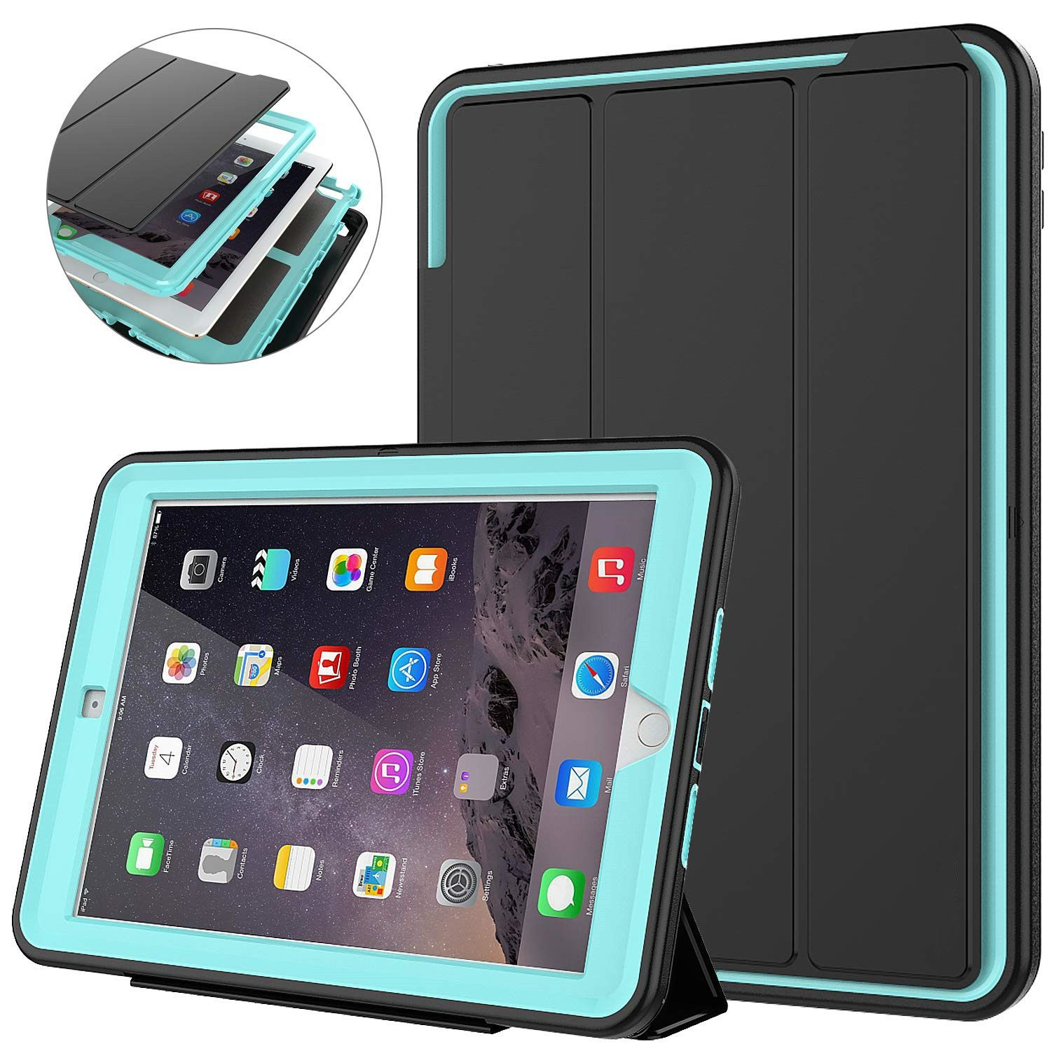 For iPad Air 2/iPad 6 (2014) Retina Kids Safe Armor Shockproof Heavy Duty Silicone Hard Stand Smart Cover Auto Sleep/Wake Cover