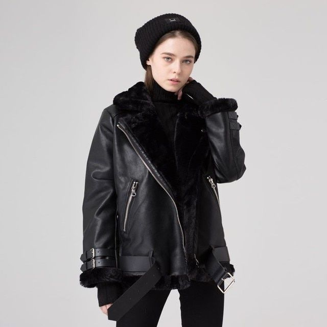 HZLLHX 2016 new version autumn winter women AC fur jacket casual belted suede leather fur jacket looseoversized outwear