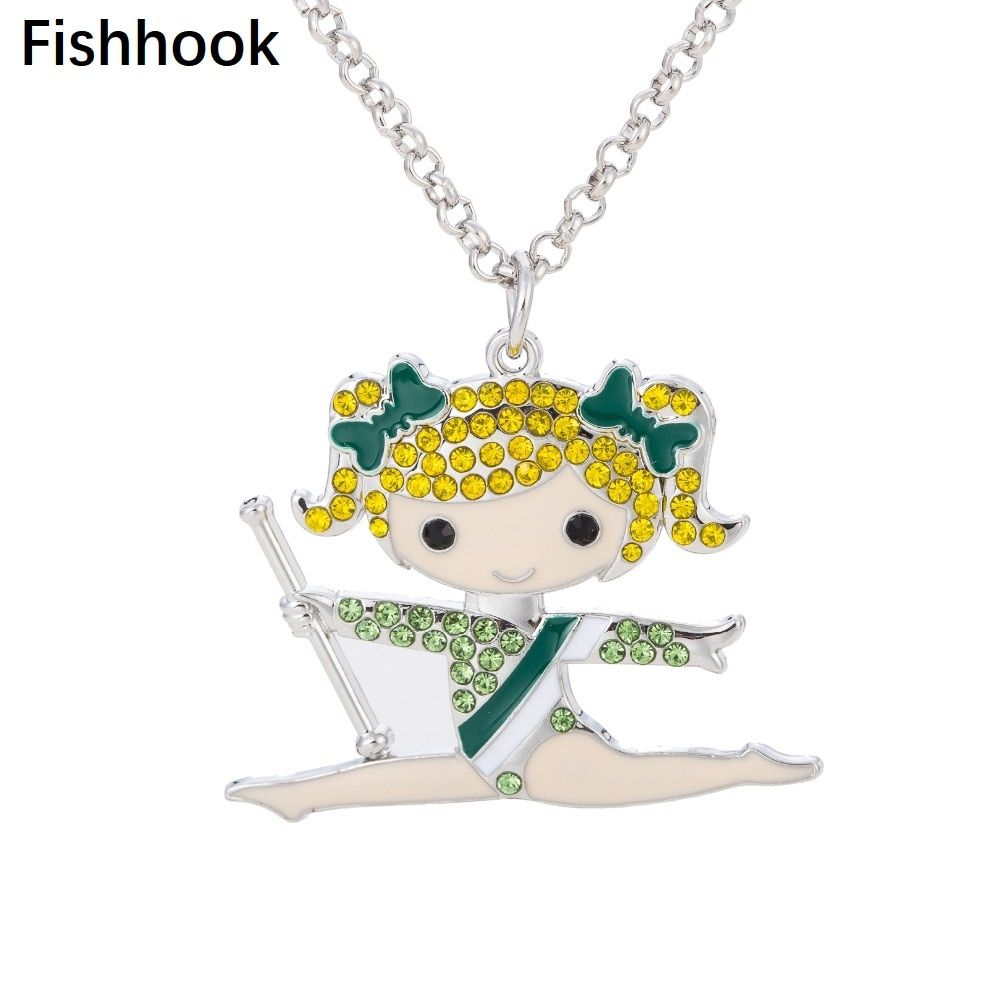 fishhook 60cm Long Chain Enamel Pendant Necklace Crystal Gymnastics Girl   Jewelry For Women