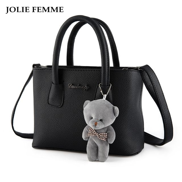 JOLIE FEMME Womens Handbag Vintage Bear Square litchi grain Bag Female Messenger Bag Bolsas Femininas saco couro grande Bags