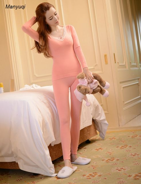 New spring winter women's slim casual pajamas v-neck long sleeve sleep tops+johns warm pajama suit female