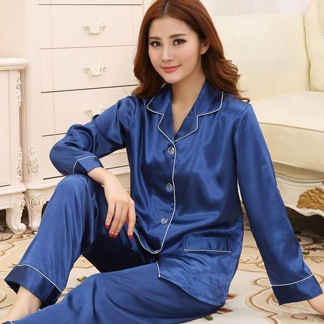 2016 Women Spring new women's long-sleeved silk pajamas sexy blue silk suit tracksuit female comfort pajamas set  S2321