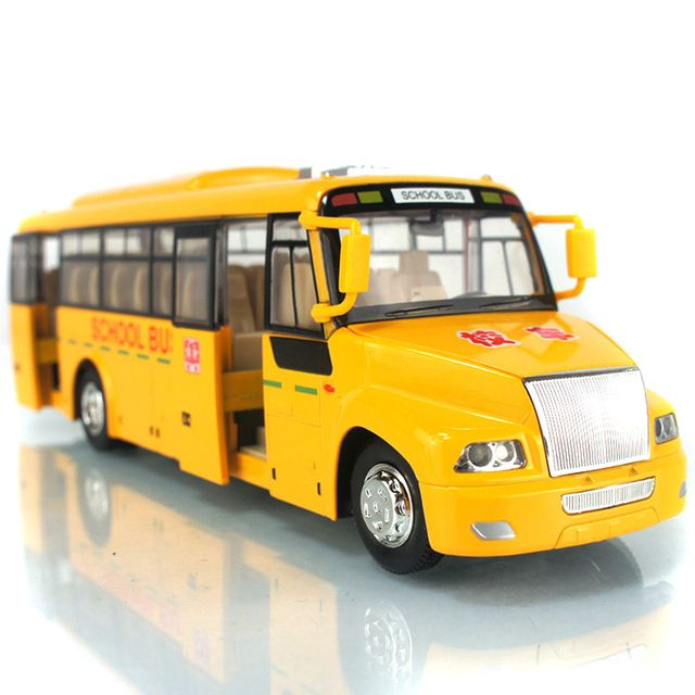 1:32 Alloy School Bus Model Pull Back/Go Acousto-Optic Four Doors Can Be Opened Rubber Tire Children's Toy Car Model Gift