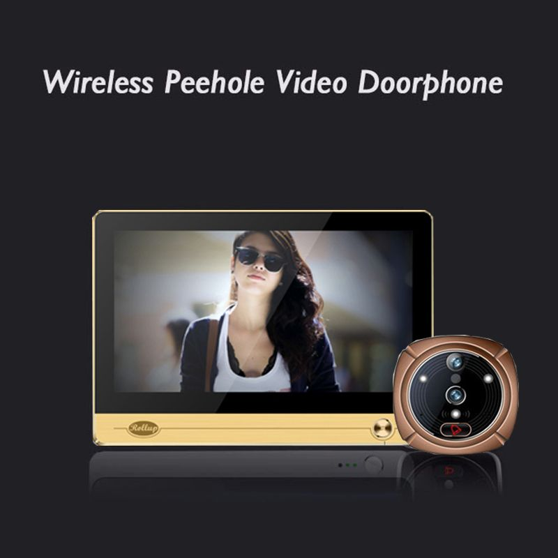 "iHome 4 Wireless WIFI Peephole Doorbell Intercom for Smart Home System 7"" 1024*600 Touchscreen LCD Monitor+2.0 mega Camera"