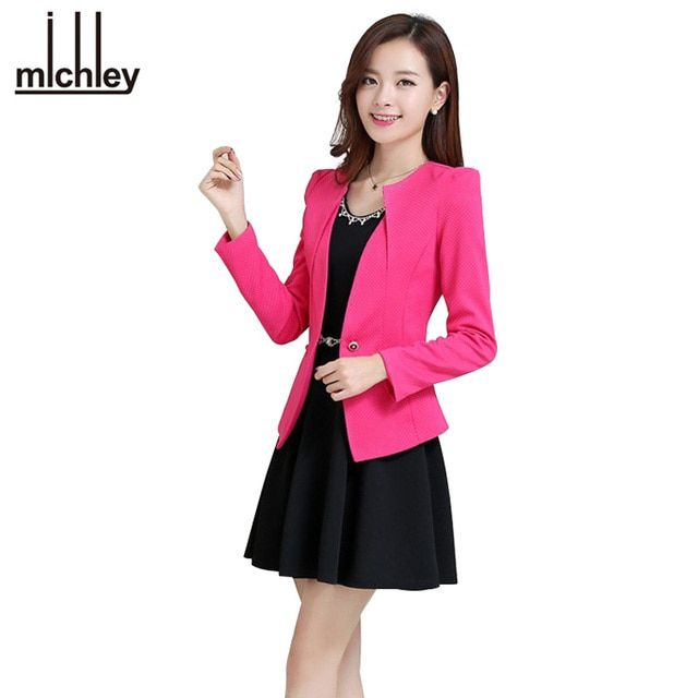 MICHLEY Women Pink Spring Blazers 2016 New Fashion Plus Size Causal Slim Full Sleeve One Button Feminina Casacos Work Wear WT101