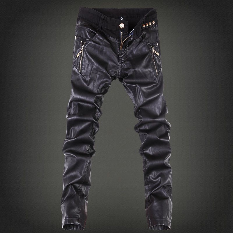 2019 mens skinny jean overalls motorcycle jeans men pu leather jeans pants denim jeans pants leather joggers small size 28-36