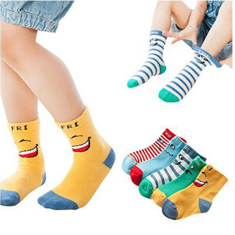 2019 kids socks smiley knee-high socks cotton autumn and winter children socks baby socks