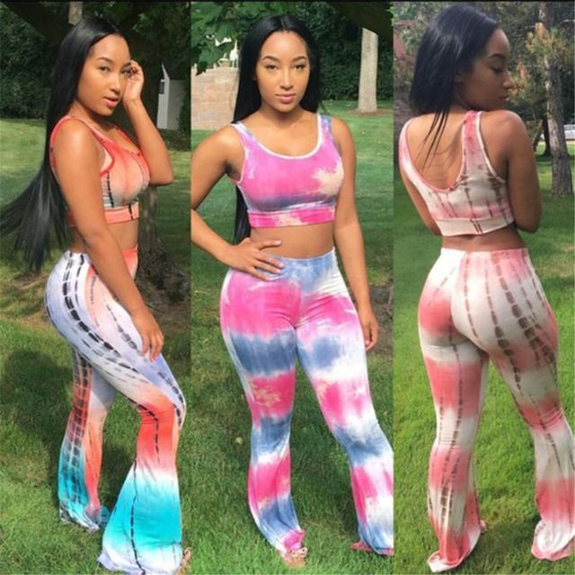 Casual Tie Dye Sexy Jumpsuits Women Bodysuit Sleeveless Crop Top and Flare Pants Set 2016 Elastic Waist Stretchy Overalls