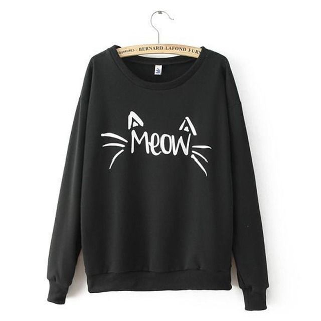 Fashion Women Tops Casual long Sleeve Cute Print Sweatshirt