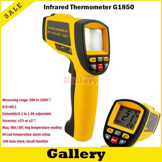 Thermal Camera Lcd Display Ir Infrared Digital Temperature Gun Thermometer 200~1850c 80:1 Rs232 Interface Software Cd