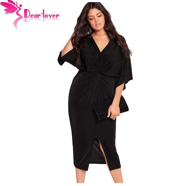 Dear Lover Autumn Dresses Big Size XXXL Club Factory Black Kimono Sleeve Knotted Pleated Front Plus Dress Vestidos Mujer LC61307