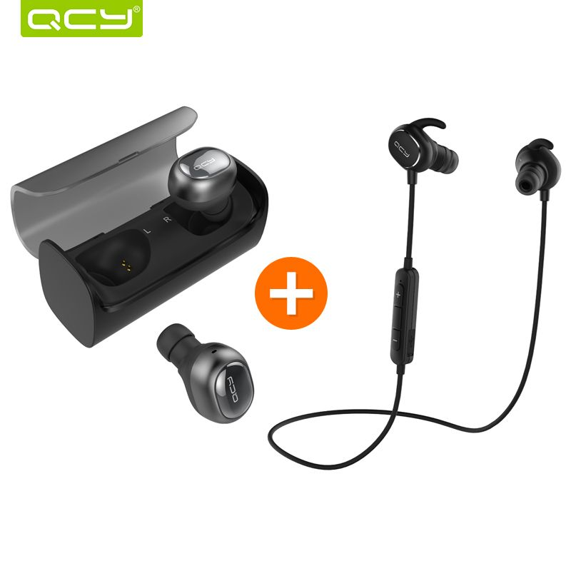 QCY Q29 3D stereo earphones mini wireless earbuds bluetooth 4.1 noise canceling headset and QY19