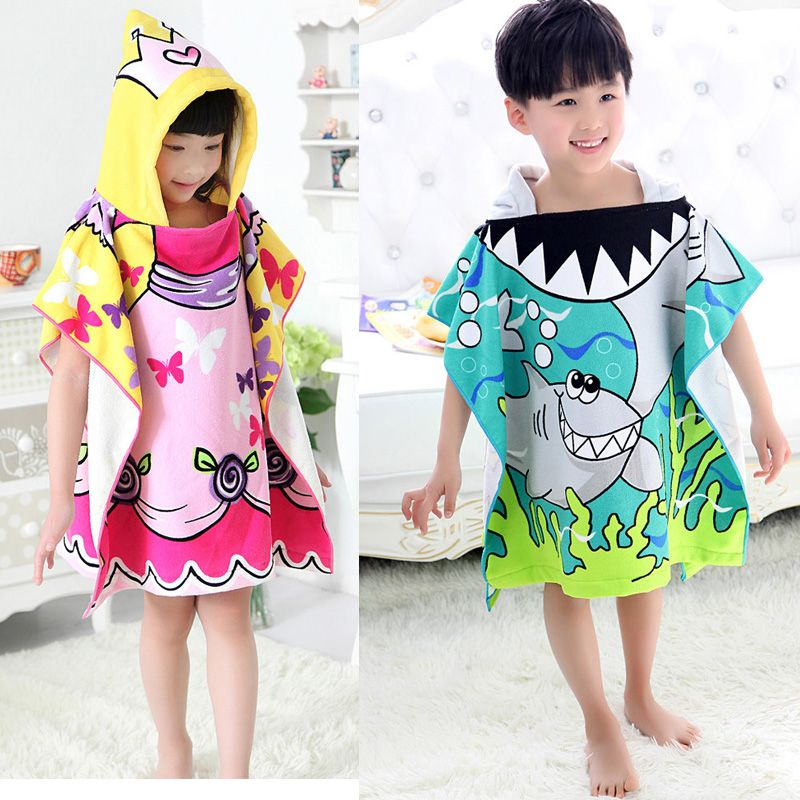 Hot Sale  Baby Beach Gown Child Bathrobe Beach Towels Baby Cloak Cape Baby Bath Towel Child Bathrobes