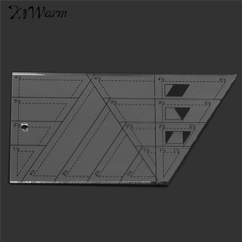 Kiwarm Hot Transparent Quilting Sewing Patchwork Craft Scale Ruler Trapezoid Polygon Foot Ladder Tailor for Home Sewing Tools