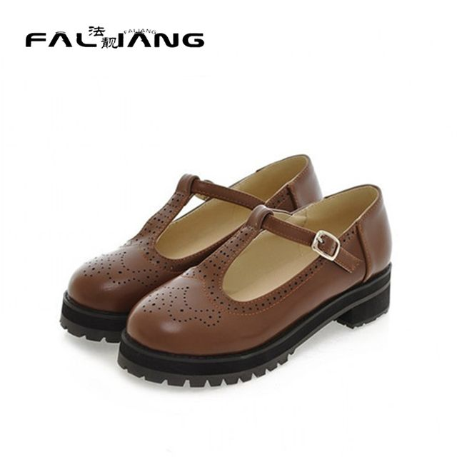 New Arrival Vintage Retro Women Round Toe T-Strap Low Heel Pumps Creepers Casual Mary Janes Shoes Plus Size US4.5-10.5